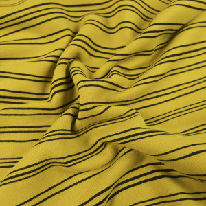 Jersey de coton BIO rayé jaune moutarde Oeko Tex