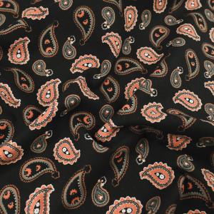 Popeline de coton noire motif cachemire