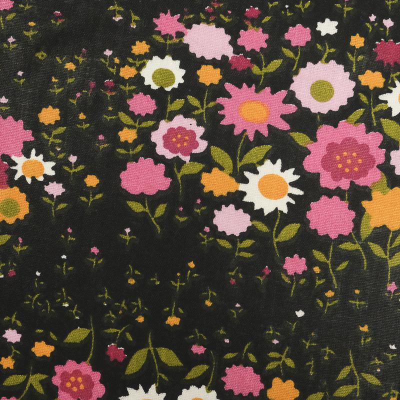 Coton imprimé Fleurs couleur sur fond noir