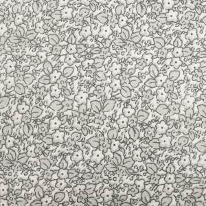 Coton imprimé fleuri design gris- blanc
