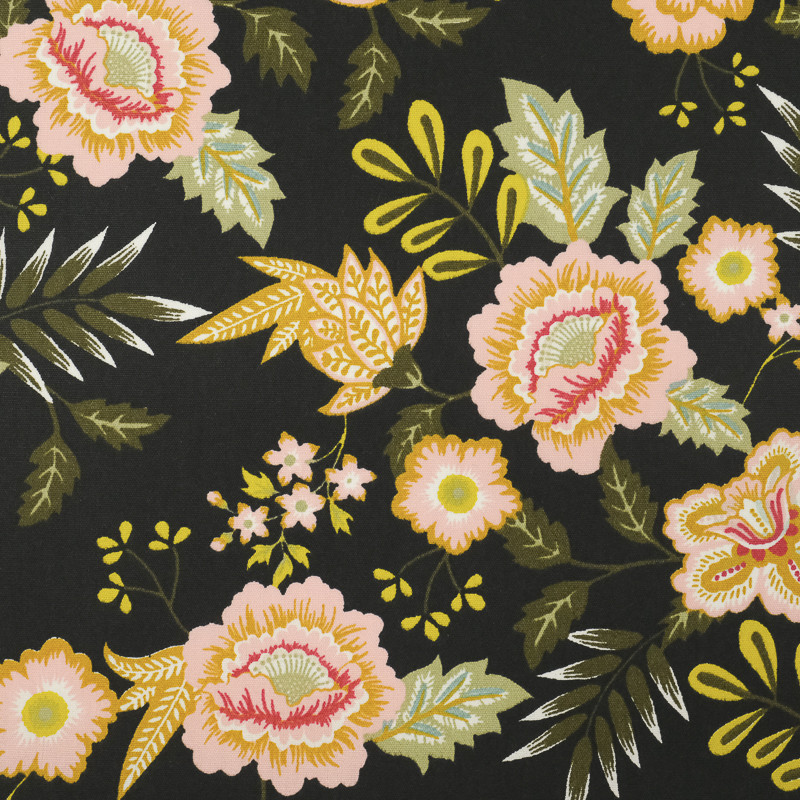 Coton enduit noir grandes fleurs vintage