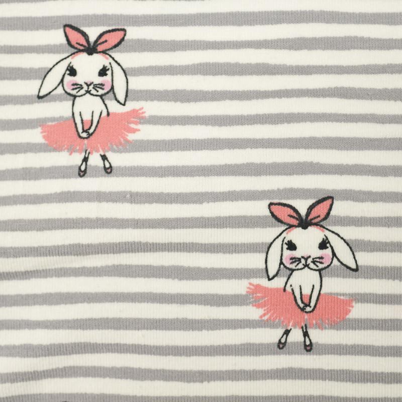 Jersey de coton rayé lapins danseuses