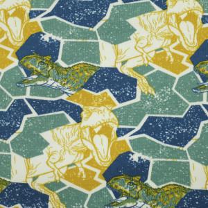 Jersey de coton bleu géométrique dinosaures