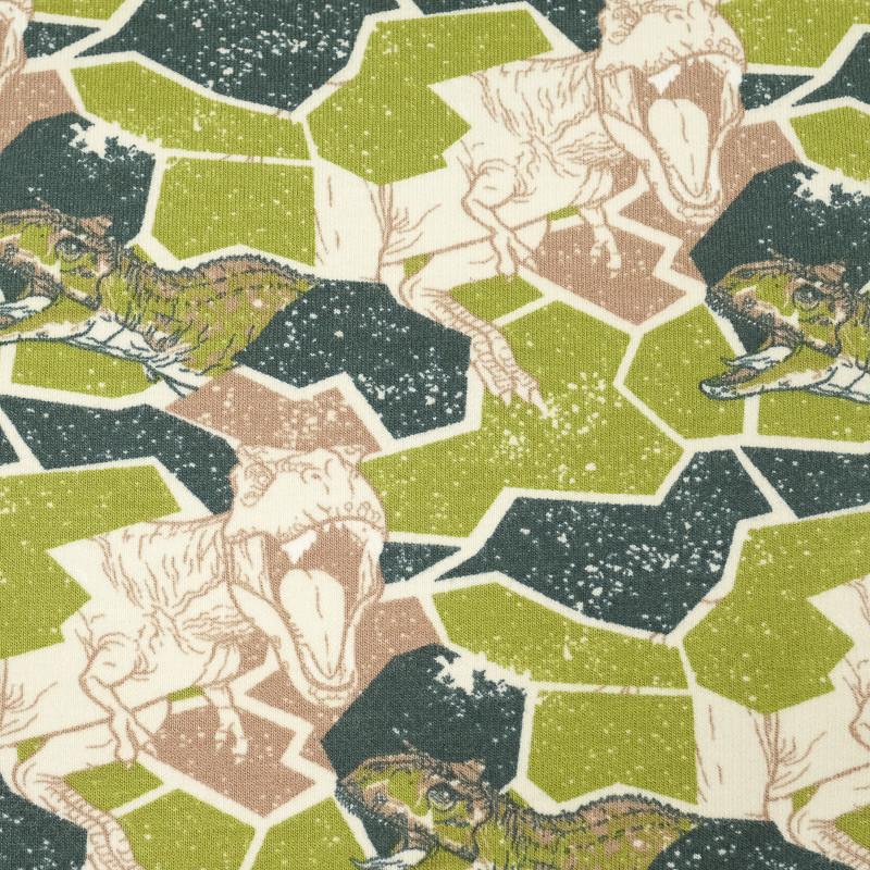 Jersey de coton vert géométrique dinosaures