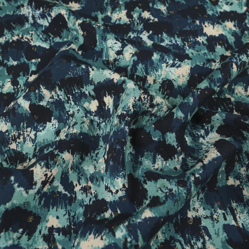 Viscose bleue impression abstraite pailletée d'or -100% Francaise