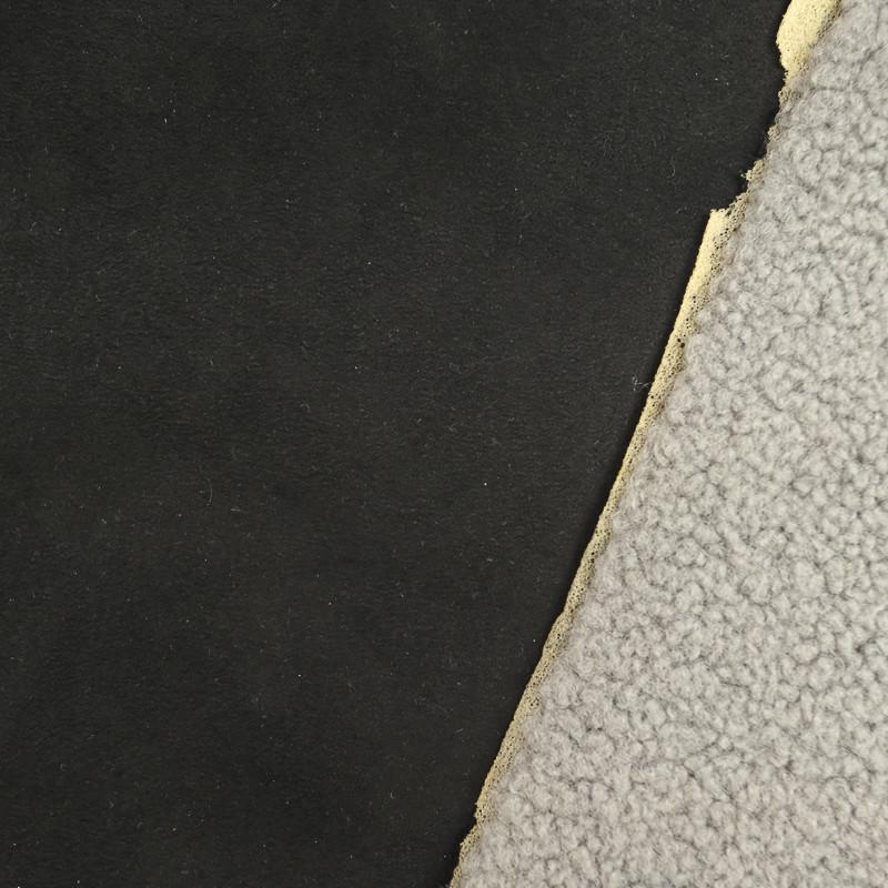 Suedine Envers Fourrure Noir et gris