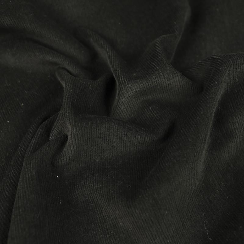 Velours milleraies noir extensible Oekotex