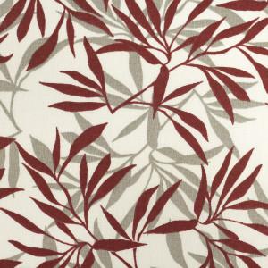 Coton imprimé Feuilles de bambou grenat