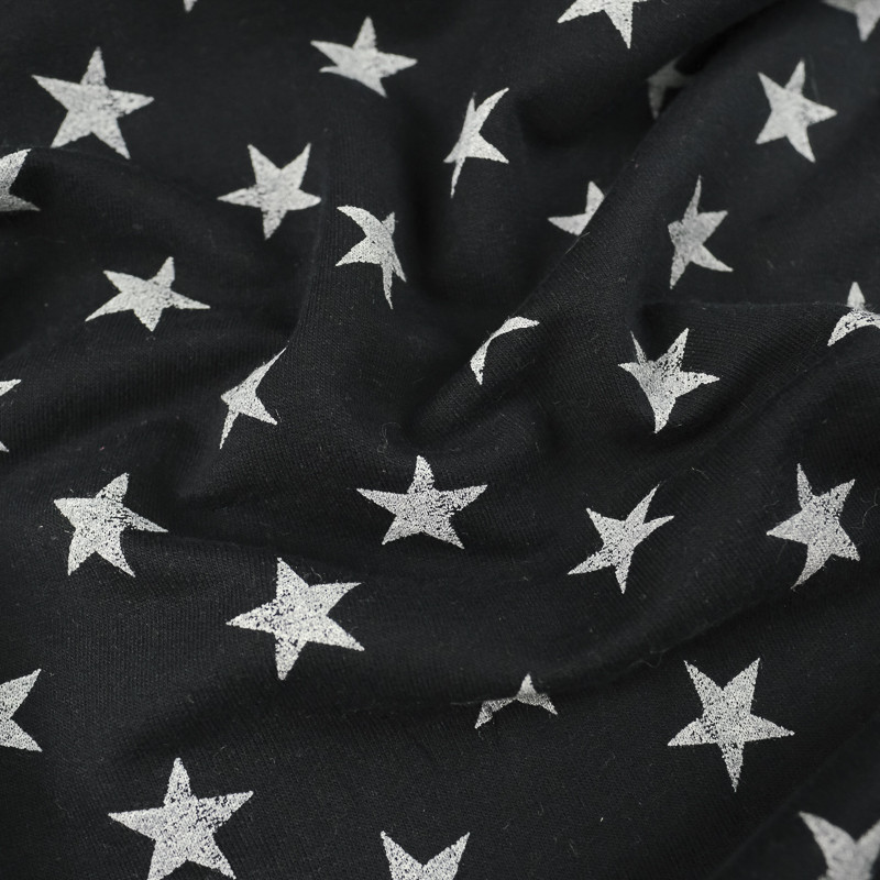 Jersey coton bleu nuit Etoiles